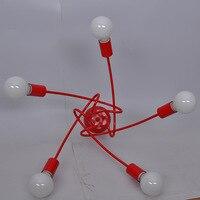 Американского искусства ddecor Творческий железа потолочный светильник для спальни читальный зал 3/5 голов E27 современные светодиодные потоло