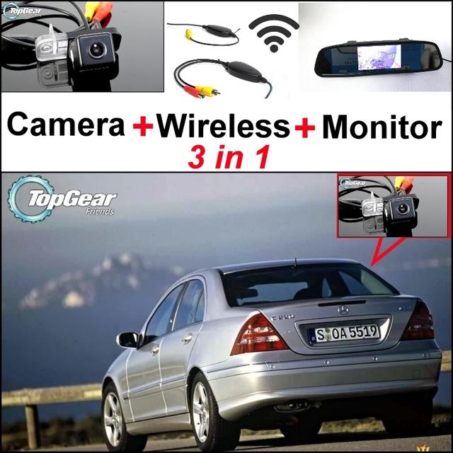 3 in1 Cámara + Receptor Inalámbrico + Monitor Del Espejo Especial Fácil DIY Sistema de Aparcamiento Para Mercedes Benz MB W203 Clase C 2001 ~ 2007
