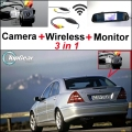 3 in1 Special Camera + Wireless Receiver + Mirror Monitor Easy DIY Parking System For Mercedes Benz C Class MB W203 2001~2007