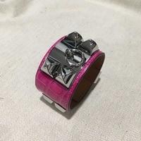 Top Quality Punk Bracelet Wide Genuine Leather Bracelets & Bangles For Women Alligator Pattern Cuff Bracelet Statement Jewelry
