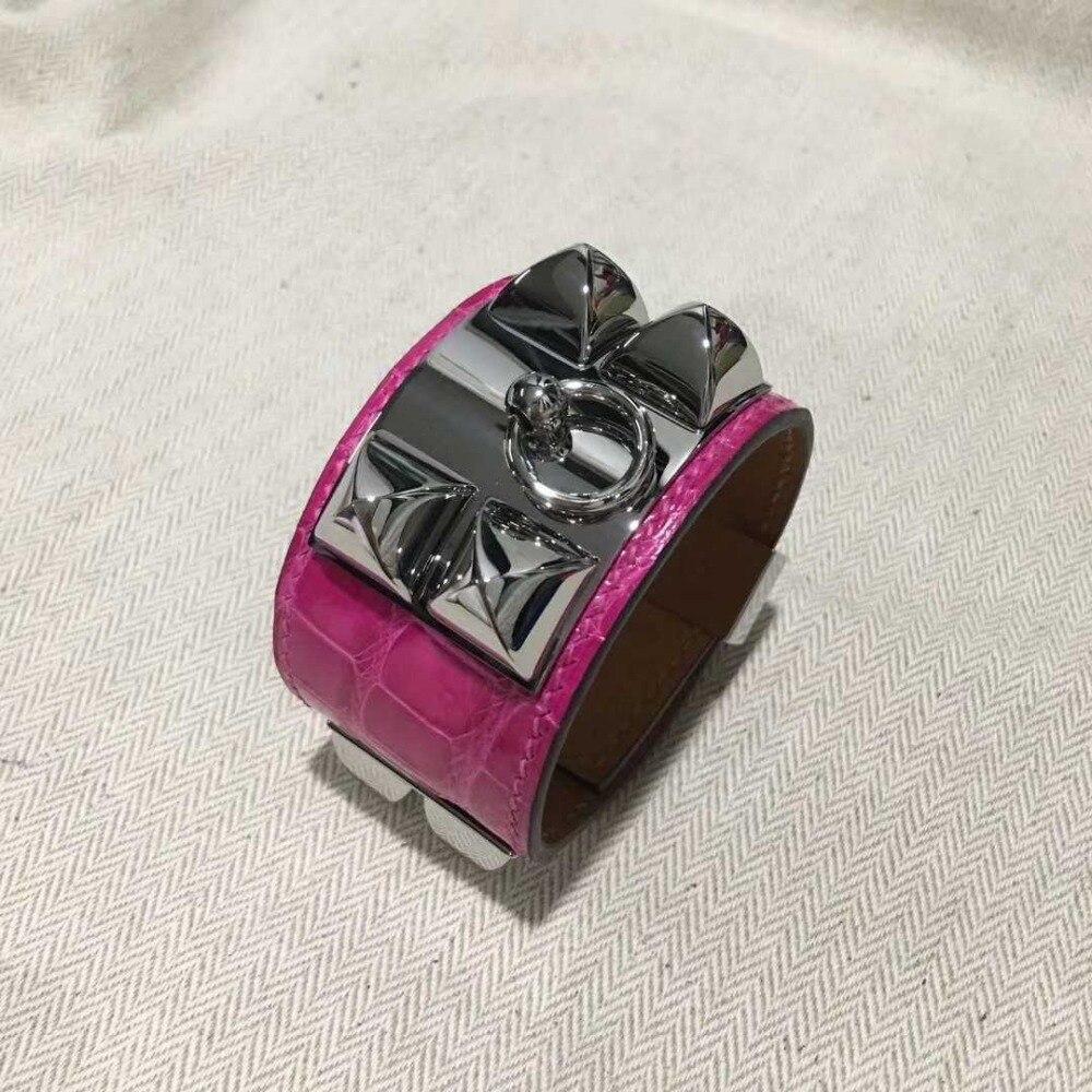 Top qualité Punk Bracelet large en cuir véritable Bracelets et Bracelets pour femmes Alligator motif manchette Bracelet déclaration bijoux