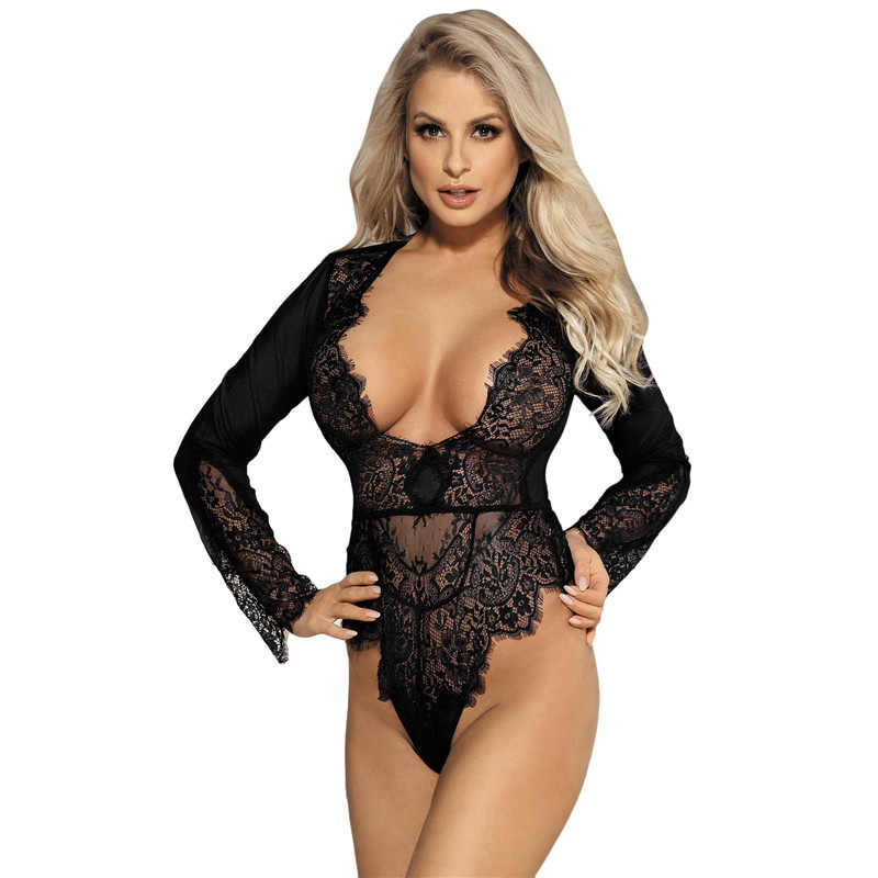 75089af65bd ... J80400 Sheer mesh long sleeve bodysuit women sexy deep v neck sexy  romper jumpsuits plus size ...