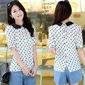2016 новая мода женщин кошка печати шифон лето блузка sexy офис симпатичные blusa топы для женщин с коротким рукавом кнопку назад blusas