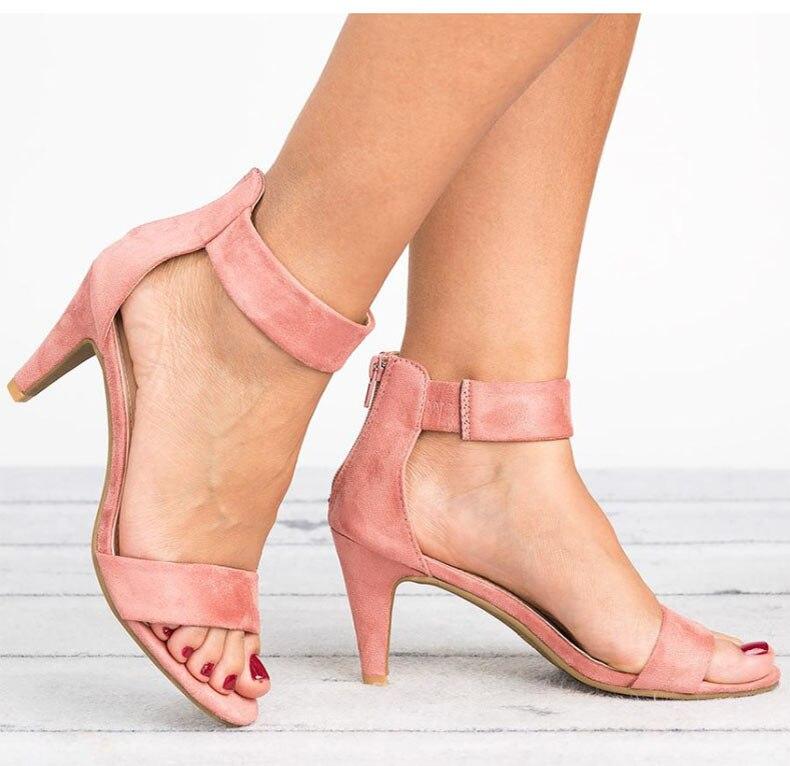 Women Sandals 2019 Fashion Summer Shoes Women Peep Toe Thin Heels Sandals Plus Size 43 Casual Zapatos Mujer 5cm Women Heels