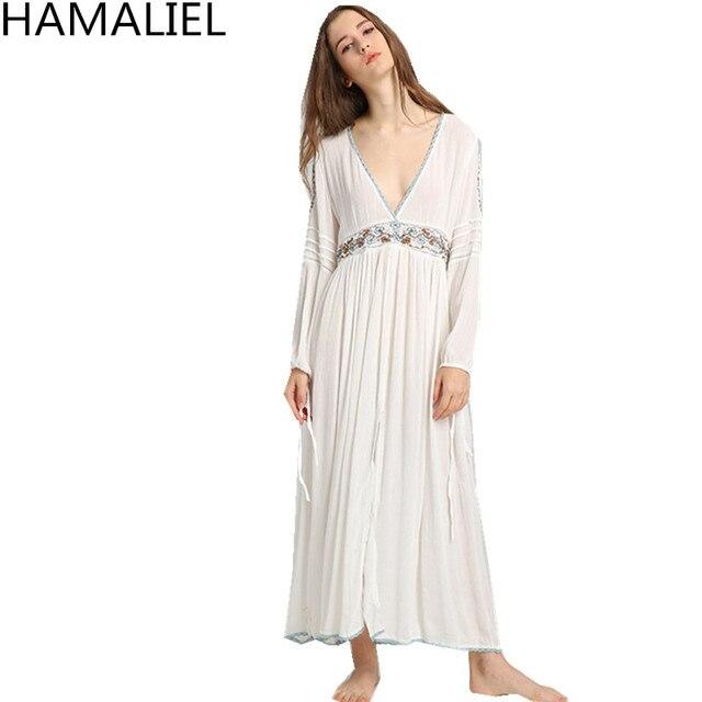 d1cb969103e HAMALIELBohemian Split Maxi Women Dress White Embroidery Chic Cotton Long  Sleeve Sexy Deep V Neck 2018 Summer Beach Hippie Dress