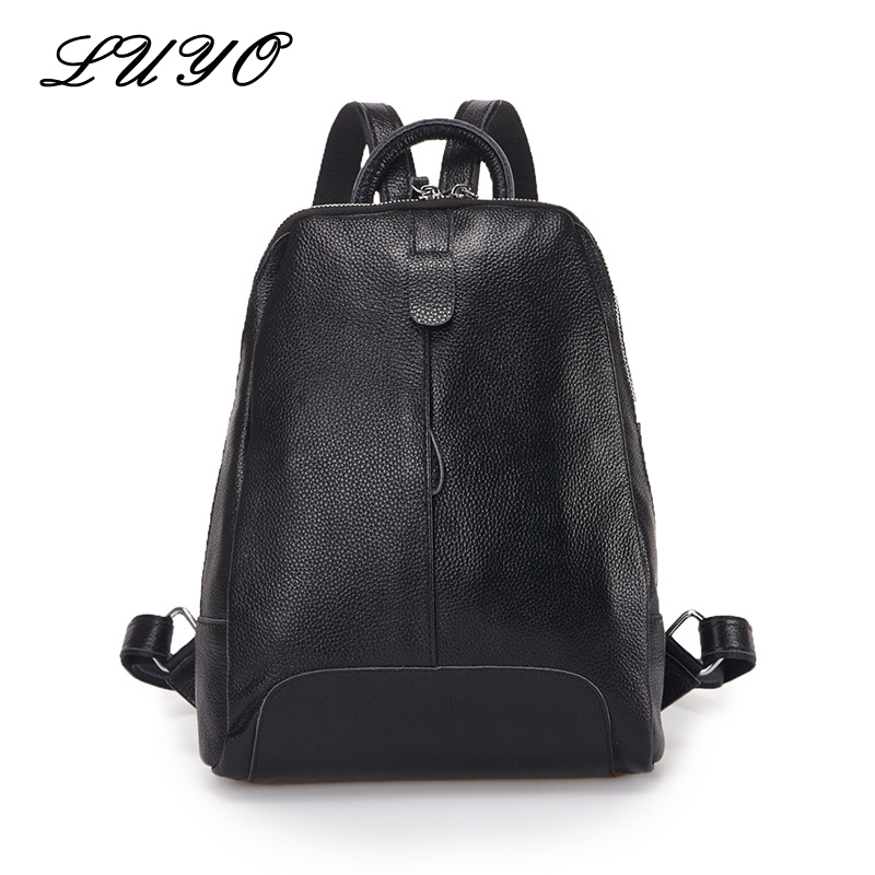 LUYO 100% Soft Genuine Leather Women Backpack For Girls Youth Woman Ladies Laptop Bag Daily Backpack School Sac A Dos Travel women genuine leather backpack luxury soft solid large capacity school bag ladies travel backpacks sac a dos mochila 2017 new