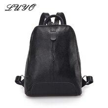 Luyo 100% мягкая натуральная кожа женщины рюкзак для девочек молодежи женщина Дамы Ноутбук Сумка Ежедневно Рюкзак Школьный Мешок Dos путешествия