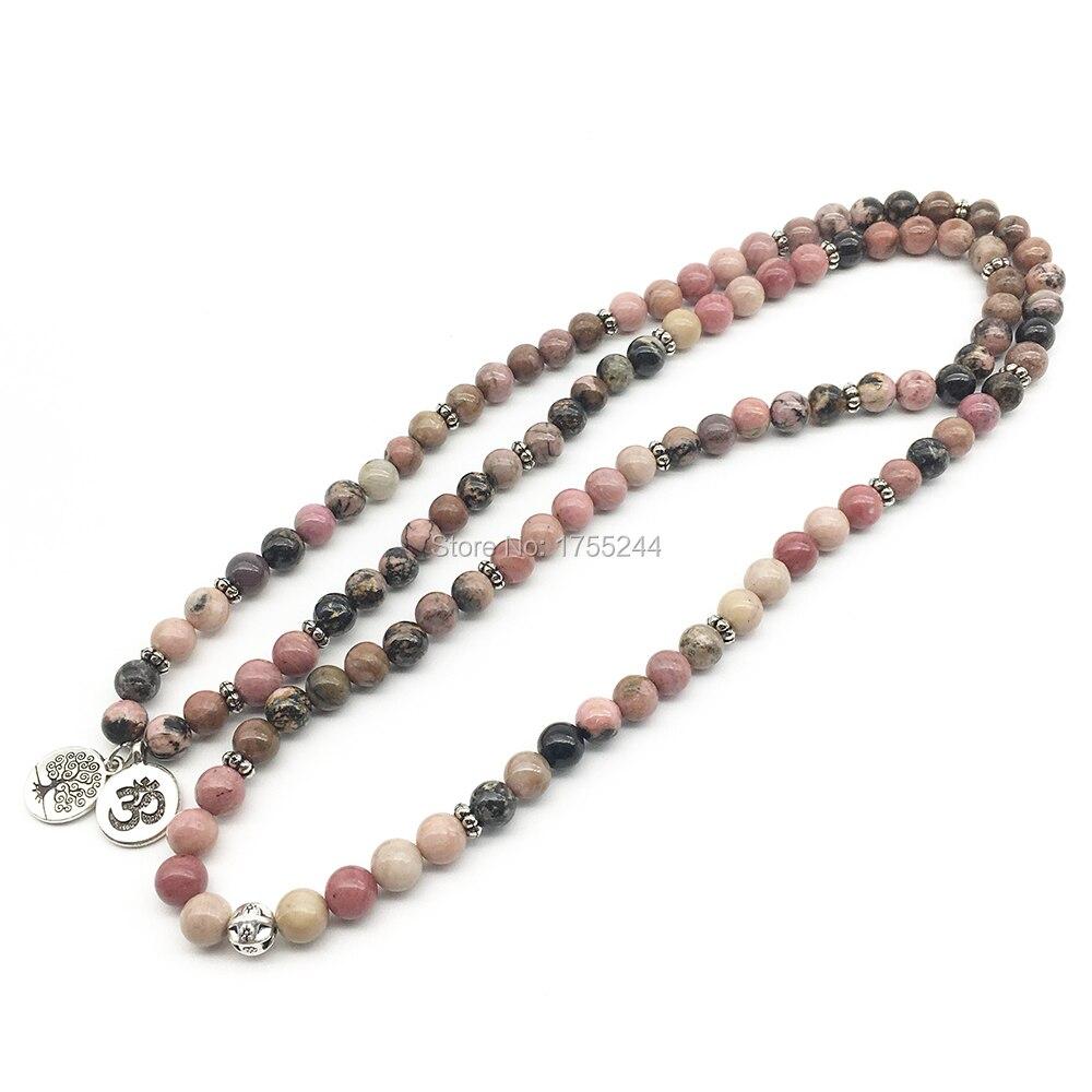 SN1374 Ohm arbre de vie Bracelets perlés 108 Bracelet Mala pour femmes naturel noir veine Rhodonite pierre Bracelet livraison gratuite-in Bracelets ficelle from Bijoux et Accessoires    3