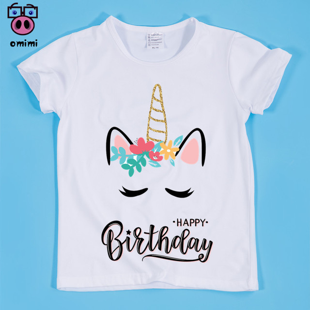 Girls Cute Unicorn Happy Birthday Kawaii Design Print T Shirts Children Baby Fille Shirt Enfant Rock Clothing