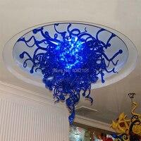 Frete Grátis AC LED Clássica Turca Azul Cobalto Vidro Colorido Lustre de Cristal