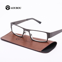 2016 New Metal Semi Rimless Reading Glasses Business Office Style Stainless Steel Old Man Eyeglasses Clear