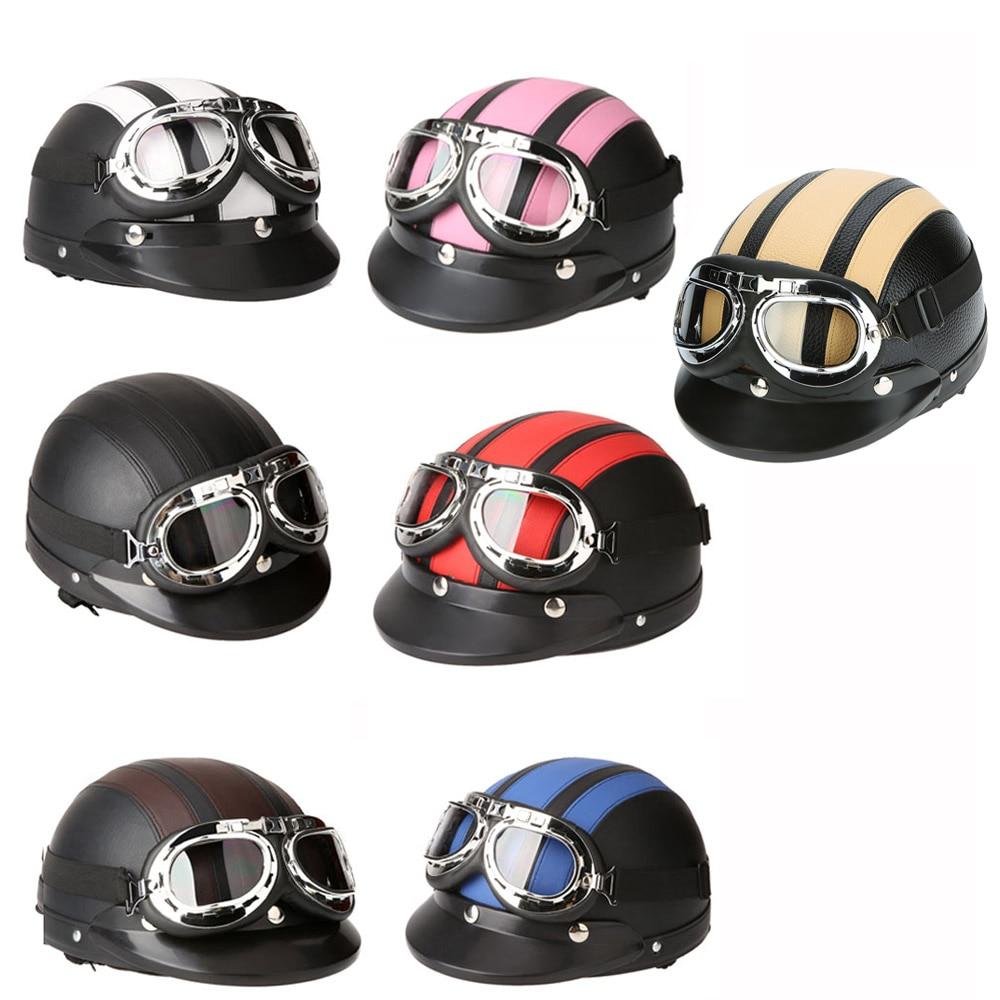 994f7fb771d Motocicleta Vespa Cara medio cuero casco con visera UV gafas estilo Retro  Vintage 54 60 cm seguridad accesorios en Cascos de Coches y motos en ...