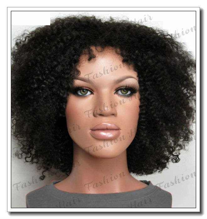 Free Shipping Short Afro Kinky Curly Wig Bleached Knots