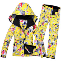 High Quality Women's Ski Snowboard Waterproof Windproof Suit Ski Jacket + Ski Pant Snowboard Clothing Winter Thermal Suit