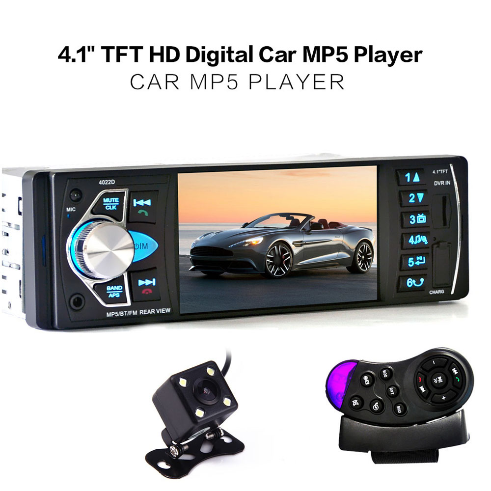 4022D 1 Din Car MP5 Video Player Auto Radio Audio Stereo FM Bluetooth TFT Screen with