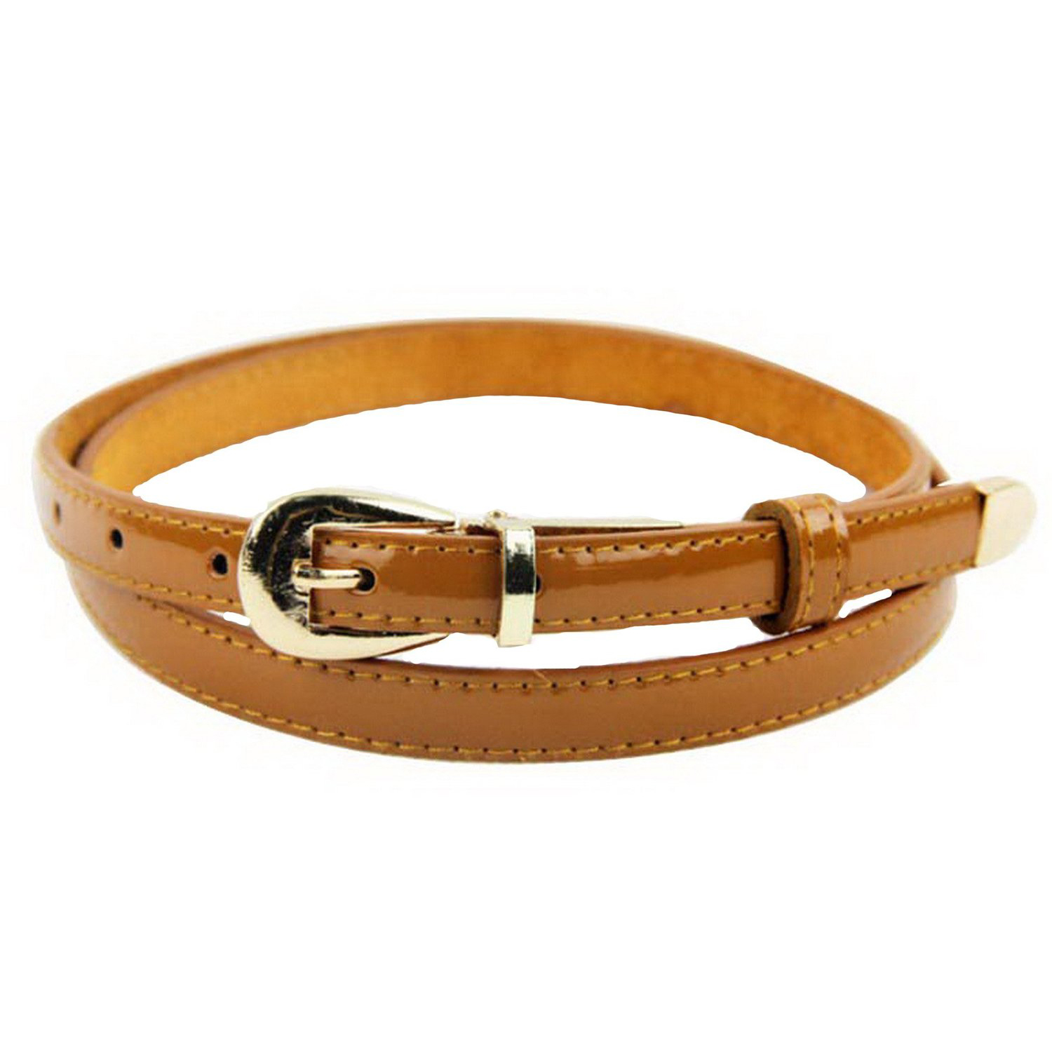 Modern Womens Candy Color Pu Leather Thin Belt Thin Skinny Waistband-light tan