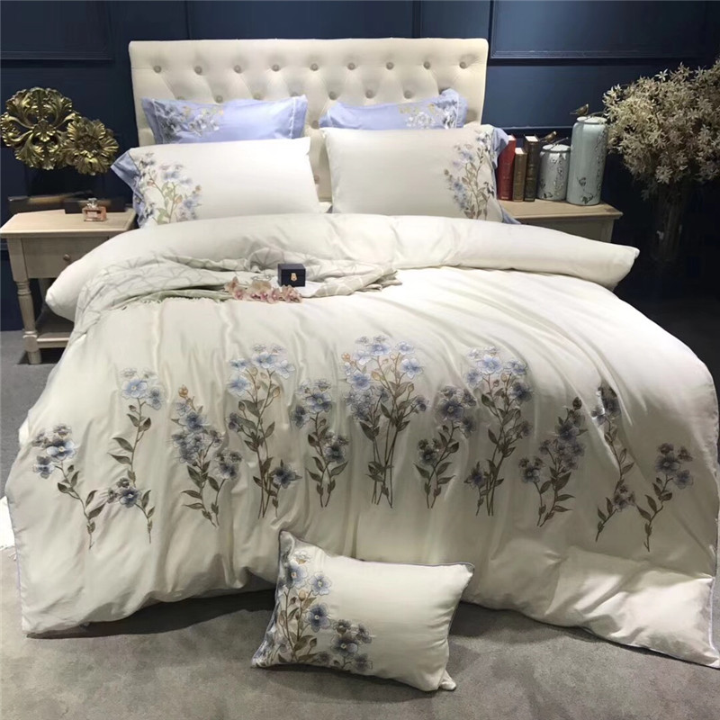 white Luxury orchid Embroidery Egypt Cotton Comfortable Bedding Set Duvet Cover Bed Linen Bed sheet Pillowcases Queen King size