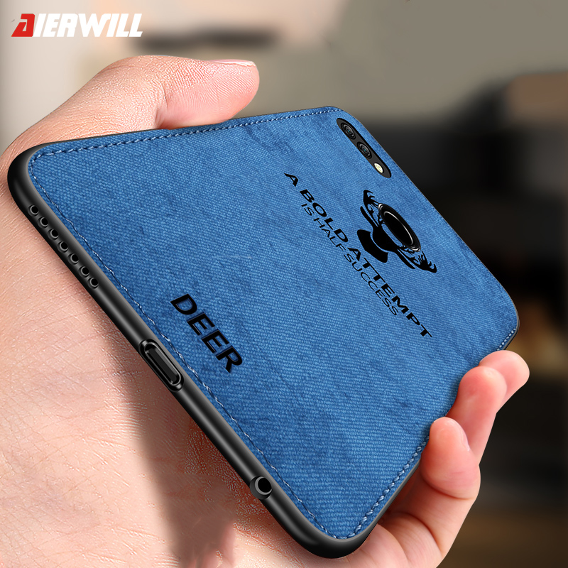 newest a0ff6 fd0bc Anti-Shock Case For Huawei P Smart Case Cover P Smart TPU Silicone Bumper  Soft DEER Cloth Fabric Cover For Huawei P Smart Case