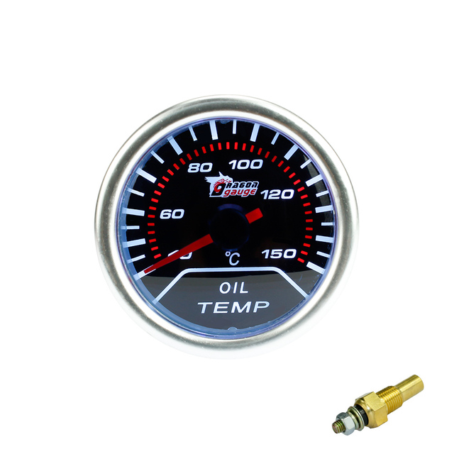 "Free shipping 2""(52mm)  Smoke len pointer Oil temp gauge C degree /Car meter/auto gauge/tachometer/autometer/Racing meter"