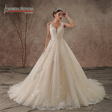 AMANDA NOVIAS 100% Real Photos Beaded Wedding Dress 2019