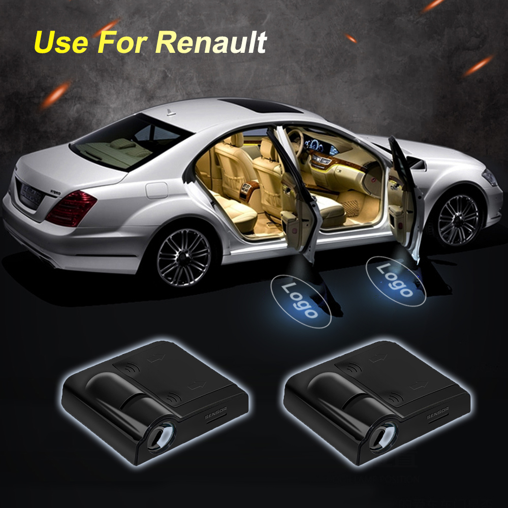 2pcs Wireless Car Door Led Welcome Laser Projector Logo Ghost Shadow Light For Renault Car Logo