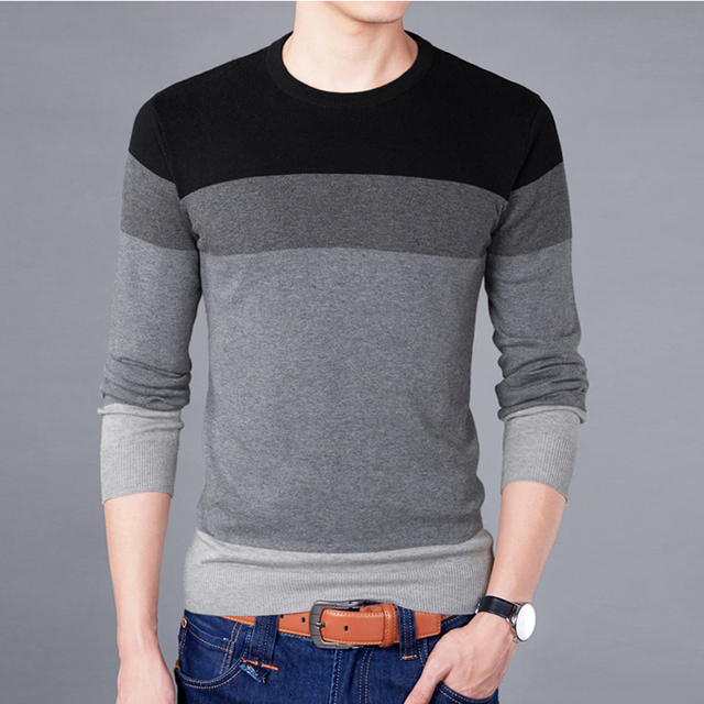 2018 New Sweater Men Autumn Winter Quality Cotton Soft Pullover Homme O -Neck Patchwork Casual Fashion Men 'S Sweater Bsethlra