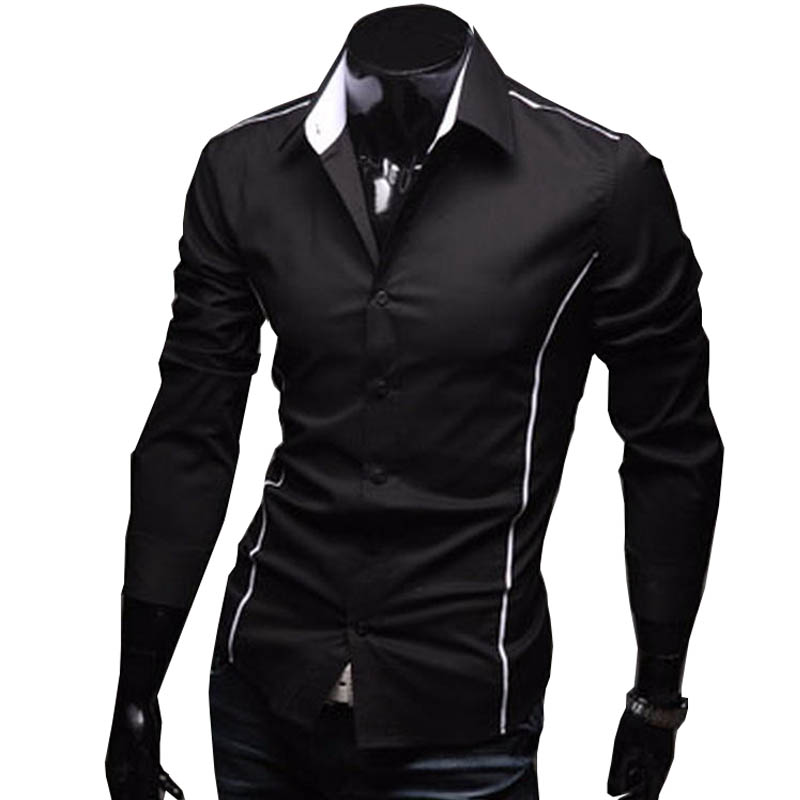 e10144c8 2019 Men's Luxury Stylish Casual Designer Edge Piping Long Sleeve Dress  Shirt Muscle Fit Shirts 3