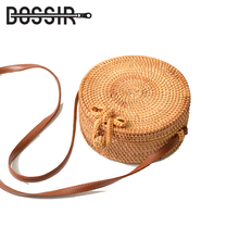 Round Straw Bag Women Summer Rattan Bag Handmade Woven Beach Female Shoulder Crossbody Bags For Women Messenger Bags 2019 straw cotton rope beach bag summer crossbody bags for women 2019 handmade brand shoulder messenger shopping bag women bag