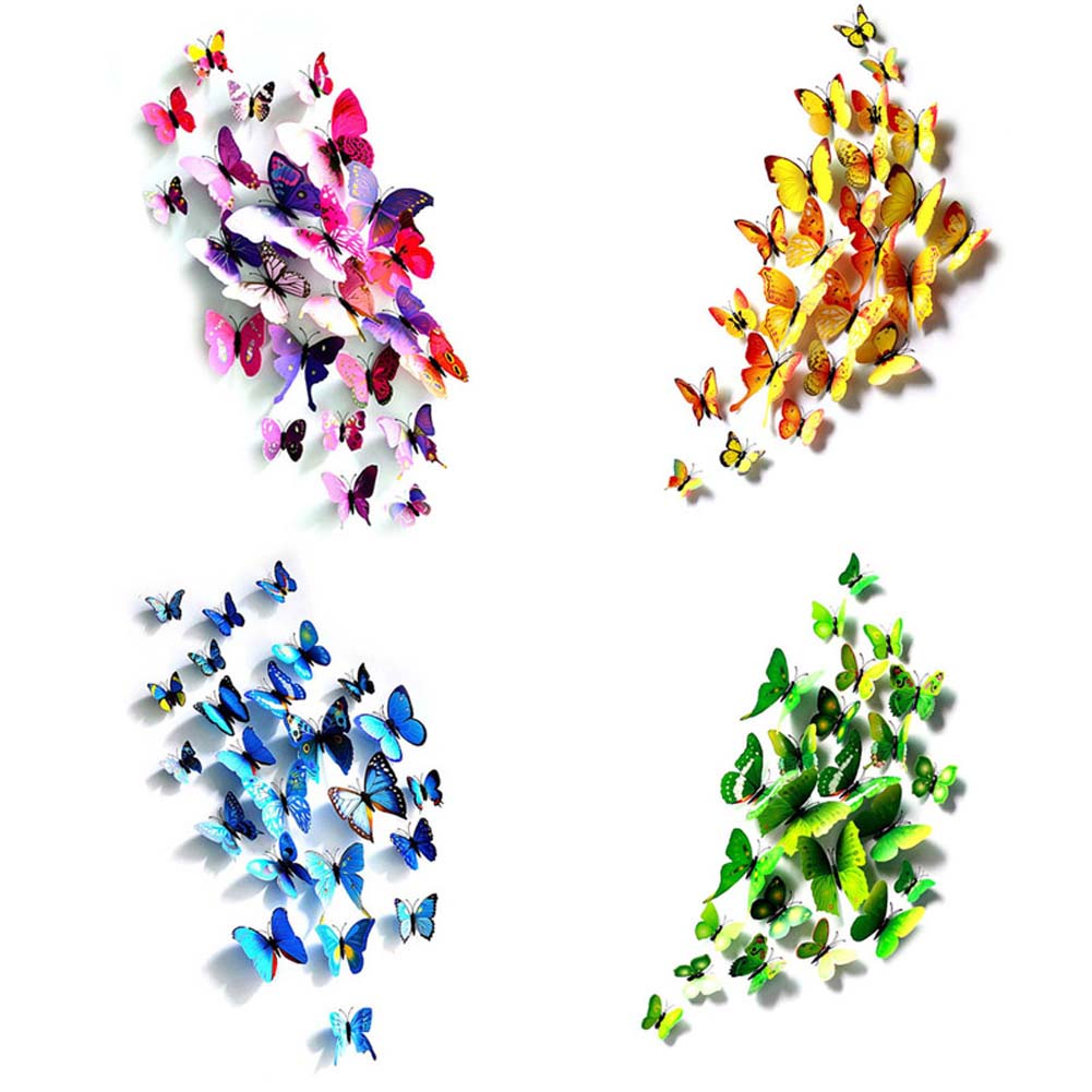 12Pcs/Set 3D Simulation Butterflies Wall Stickers Mix Sizes Kids Room Art Decal Decoration For Door Window Refrigerator LXY9