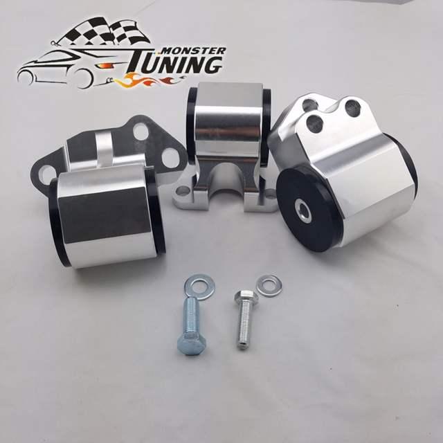 Tuning Monster Billet Aluminum Silver 3 bolt Engine Swap Mount Kit for  HONDA CIVIC DC D15 D16 B16 B18 92-95 EG With logo