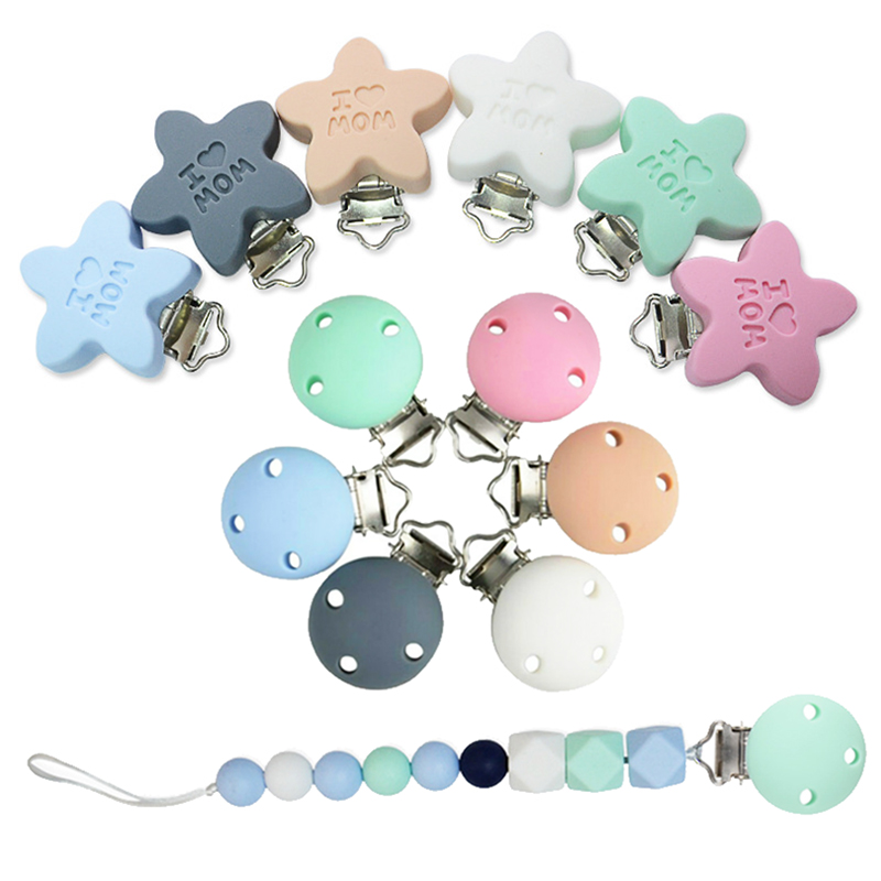 DIY Silicone Pacifier Clips Round Pentagram Teether Teething Accessories Soother Nursing Holder Chain Clip Nipple Clasps