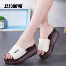 JZZDDOWN Summer women slippers genuine leather Open Toe middle heel shoes Women Wedges Slippers black white slides sandals wedges slippers women 2018 slides sandals shoes women genuine leather closed toe handmade comfortable women flat shoes