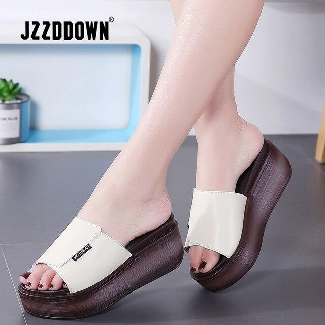 JZZDDOWN Summer women slippers genuine leather Open Toe middle heel shoes Women Wedges Slippers black white slides sandals