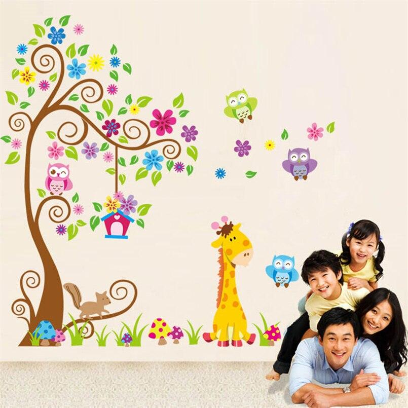 Nursery Wall Sticker Vinyl Owl Giraffe Animals Kids Decor Decal Wall Stickers For Living Room 2018 New Arrivals F#3S26