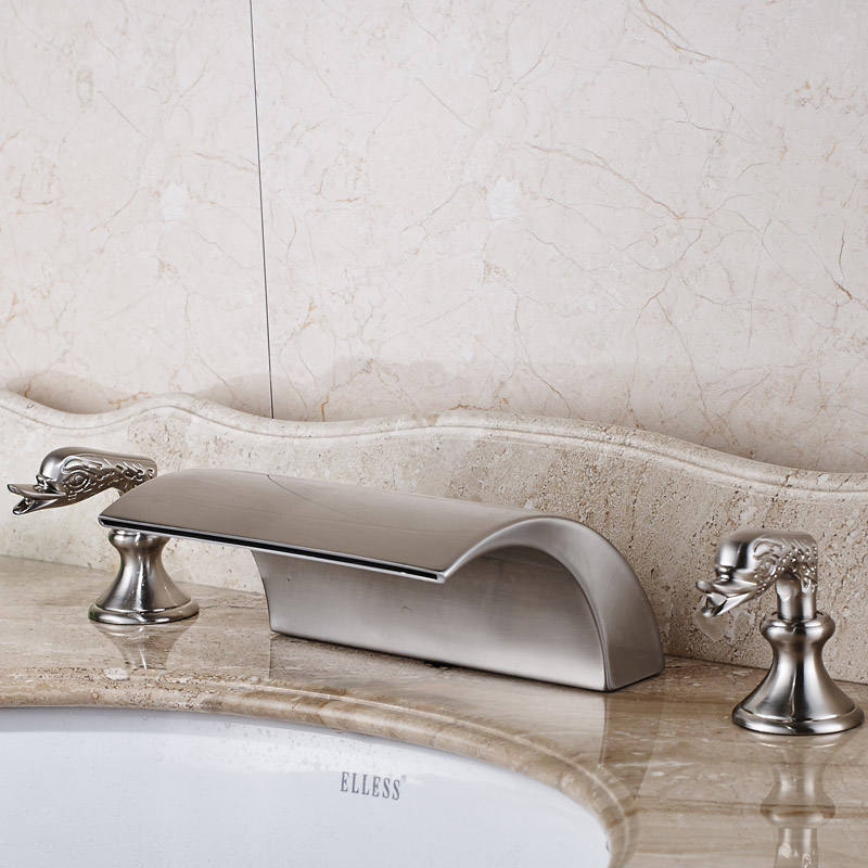 Nickel Brushed Wash Basin Sink Faucet with Hot Cold Water Taps Dual Holders One Water Spout brushed nickel led light bathroom waterfall basin sink mixer taps dual handle basin faucet with hot cold water