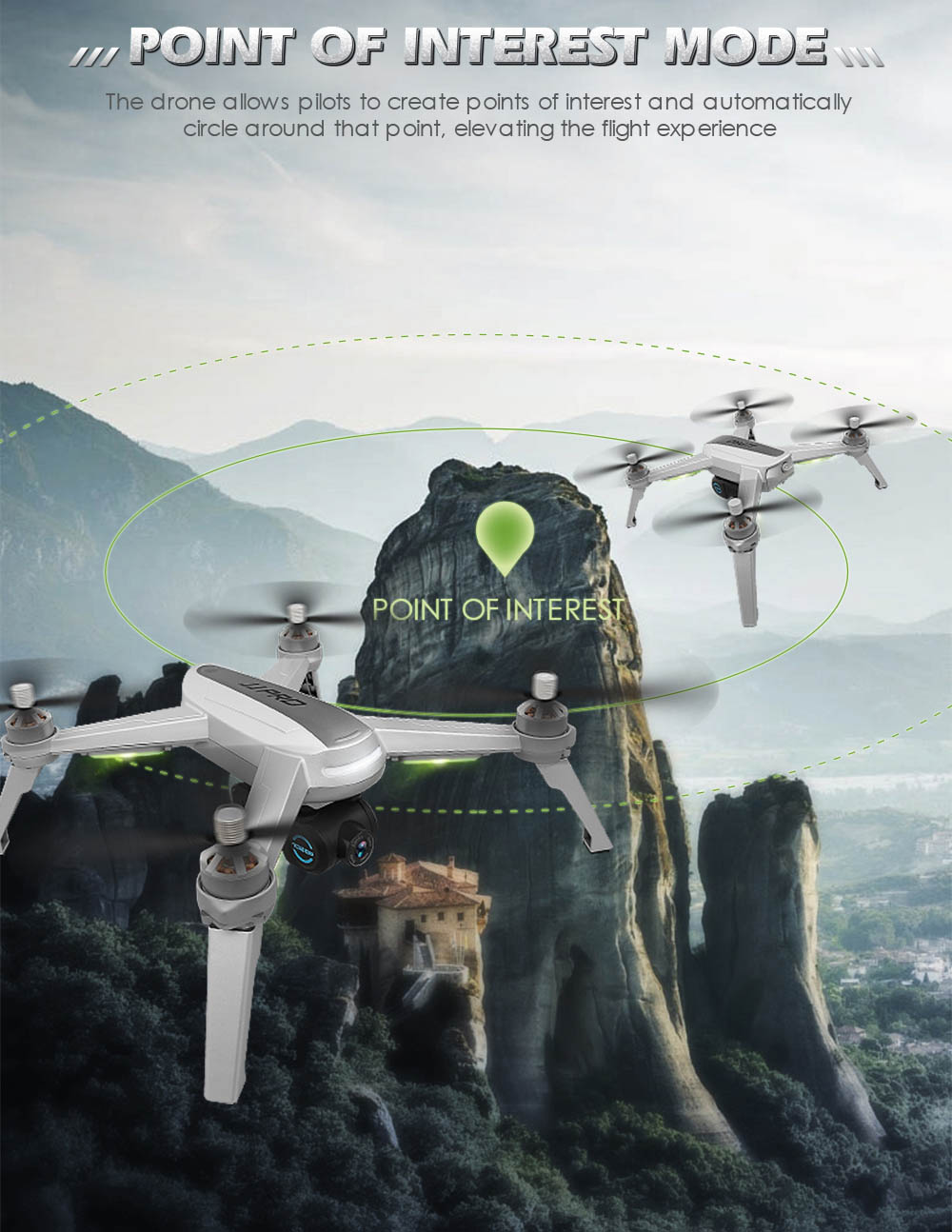 JJRC JJPRO X5 RC Drone 5G WiFi FPV Drones GPS Positioning Altitude Hold 1080P Camera Point of Interesting Follow Brushless Motor 5