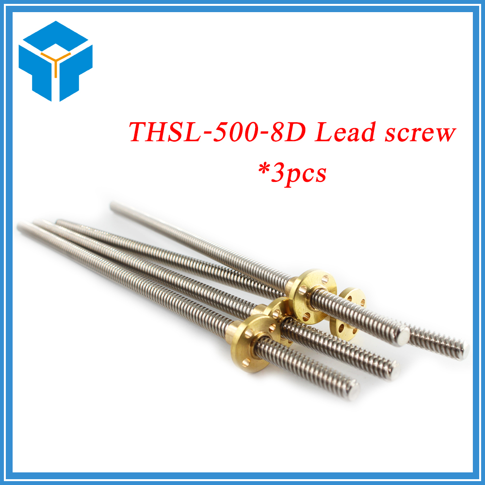High quality 3PCS T8*8 mm lead screw 500 mm 8mm lead trapezoidal spindle screw with 3pcs brass copper nut