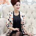 Os Recém-chegados Primavera Outono Periodwomen Falsas Duas blusas Moda Plus Size Impressão de Manga Comprida de Malha Topo
