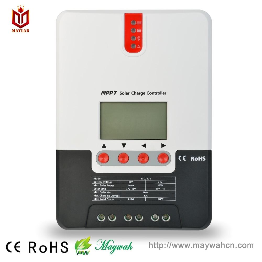 MAYLAR 12 V/24 V reconnaissance automatique contrôleur de charge solaire 20A mode MPPT avec système solaire à écran numérique