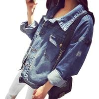 High Quality Handsome Punk Female Small Round Collar Denim Jacket Vintage Women Autumn Spring Jacket 2016