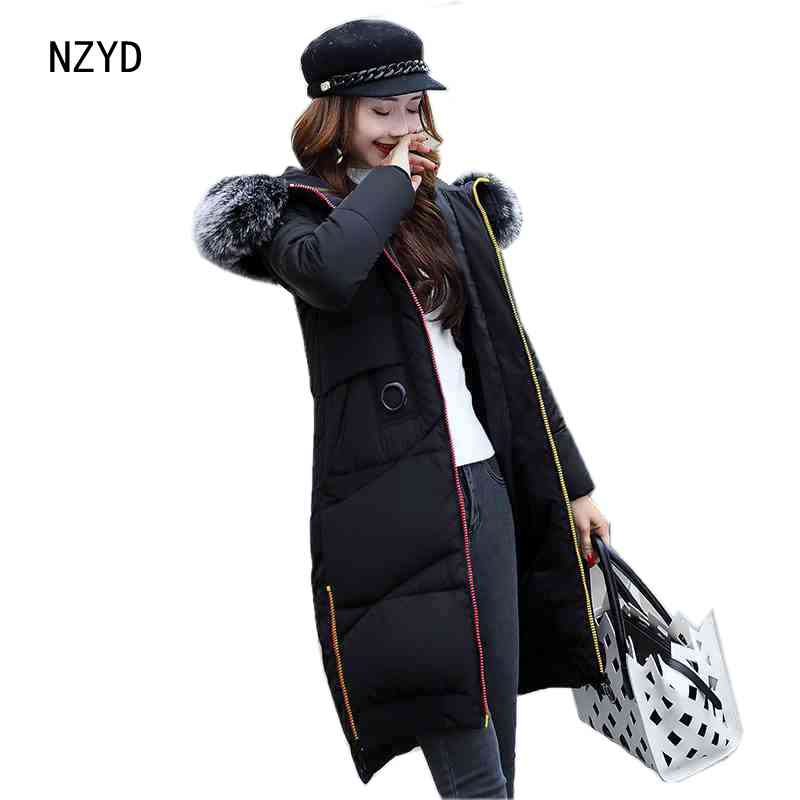 2017 New Women Winter Parkas Fashion Hooded Thick Super warm Medium long Jacket Patchwork color Loose Big yards Coat LADIES199 2017 new winter fashion women parkas hooded thick super warm medium long coat casual slim big yards cotton padded jacket nz308