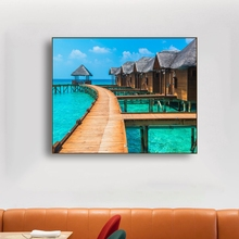 Laeacco Canvas Painting Calligraphy Tropical Landscape Passage House Paint Wall Art Pictures For Home Living Room Bathroom Decor