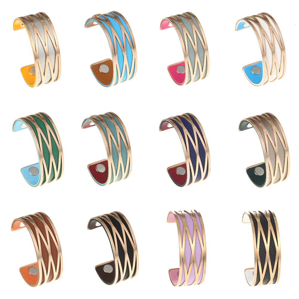 Cremo Pink Bracelets Bangles Stainless Steel Bracelet Manchette Femme Jewelry Reversible Leather Arm Bracelet Bangle Pulseiras in Bangles from Jewelry Accessories