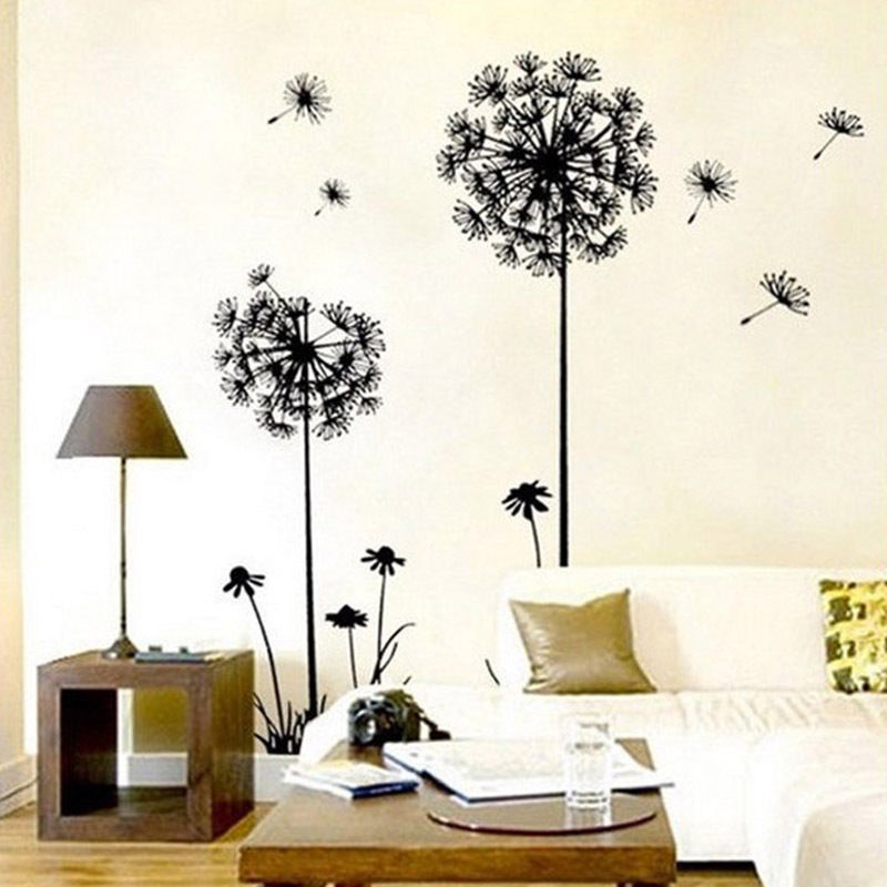 1pc new arrival creative dandelion removable wall stickers for Decoration autocollant mural