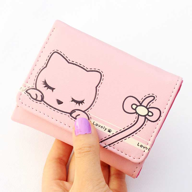 2017 New Cute Prints Cat wallets Lady Short purse Female Hasp 3 fold wallet Women purse coin zipper money bag card holder