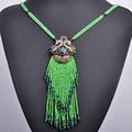 Vintage Long Tassel Pendant Necklace Indian Turkish Statement Necklace Choker Collares Collier Femme Necklace For Women Bijoux