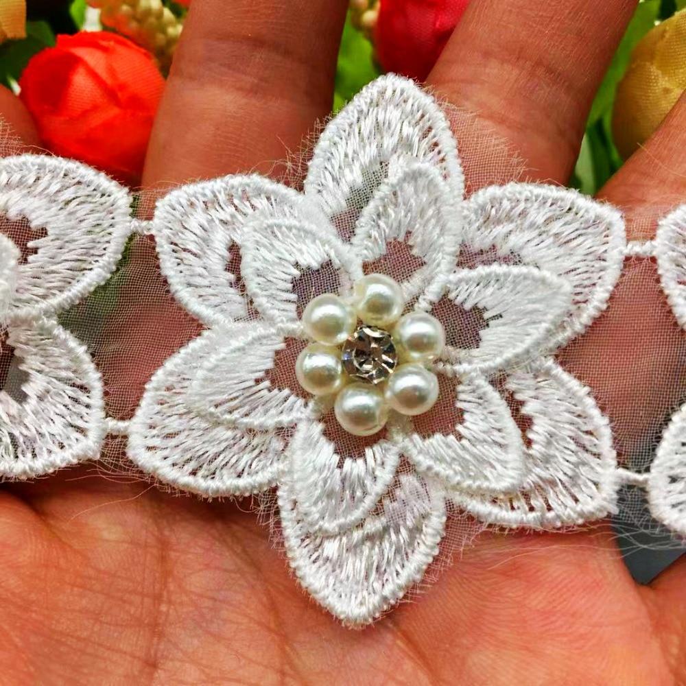 10x Pearl Flower Chiffon Lace Trim Ribbon Wedding Applique Sewing Cotton Crochet