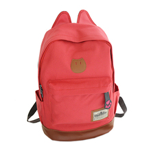 Canvas Backpack For Women Girls Satchel School Bags Cute Rucksack School Backpack children Cat Ear Cartoon Women Bags Red