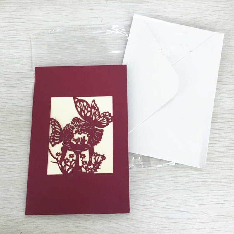 1pcs Angel Kiss Laser Cut Paper Greeting 3D Pop Up Kirigami Card Wedding Invitation Birthday Valentine's Day Postcards Gifts (5)