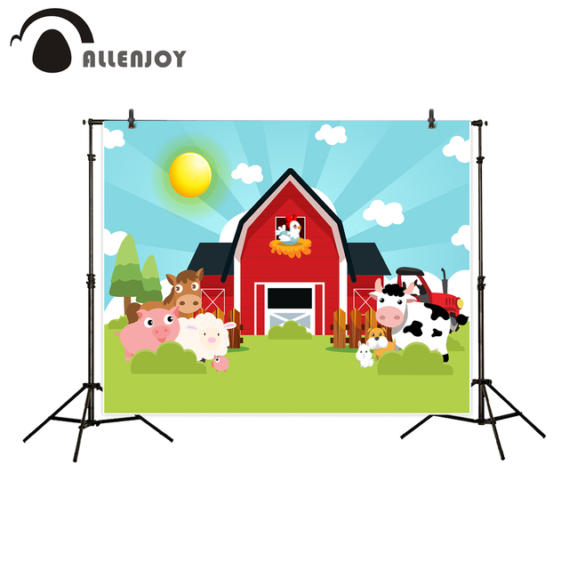 Allenjoy Red Barn Backgrounds For Photo Studio Farm Animals Spring Illustration Backdrop Decor New Photobooth Photographic